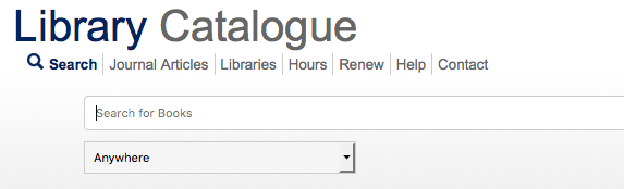 """Screenshot of the catalogue search box with dropdown menu set to """"anywhere"""" to search all fields."""