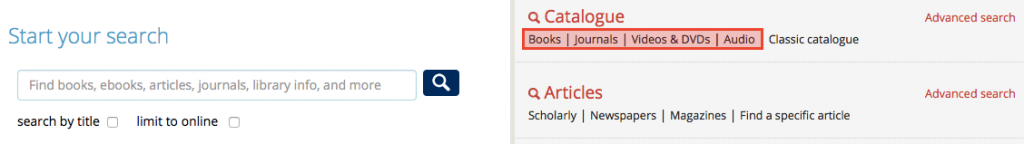 Screenshot of section of UTL homepage showing material-specific search links.