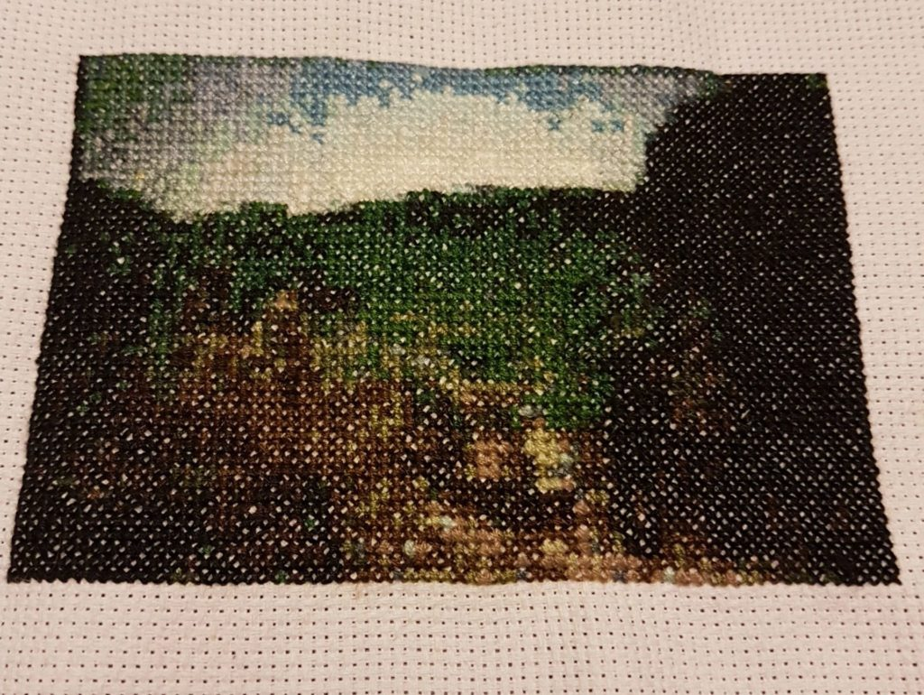 Cross-stitch of a scene from The Thin Red Line