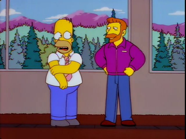 Homer Simpson bashfully looks at his boss, Hank Scorpio.